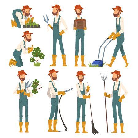 Man Gardener Working in the Garden or Farm, Cheerful Male Farmer Character in veralls Vector Illustration