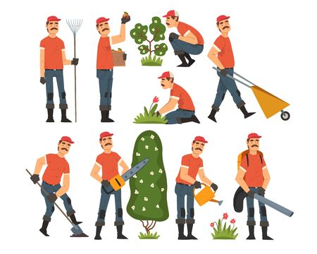 Man Gardener Working in the Garden or Farm, Cheerful Male Farmer Character in veralls with Tools Vector Illustration