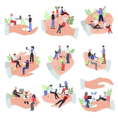 Tiny Office Employees Working in Giant Hands Collection, Office Staff Care, Support, Professional Growth, Personnel Benefits Vector Illustration