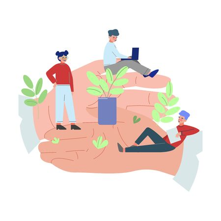 Tiny Office Employees Working on Giant Hand, Office Staff Care, Support, Professional Growth, Personnel Perks and Benefits Vector Illustration