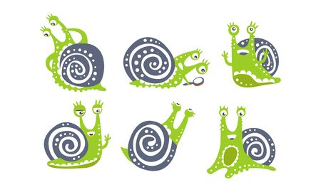 Cute Green Snail Collection, Funny Mollusk Animal Cartoon Character in Various Poses Vector Illustration