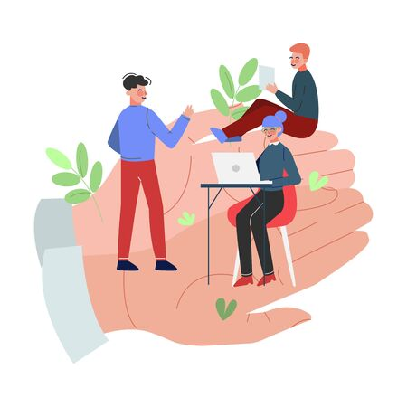 Office Employees Working on Giant Hands, Office Staff Care, Support, Professional Growth, Personnel Perks and Benefits Vector Illustration