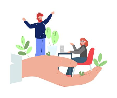 Office Workers on Giant Hand, Office Staff Care, Support, Professional Growth, Personnel Perks and Benefits Vector Illustration