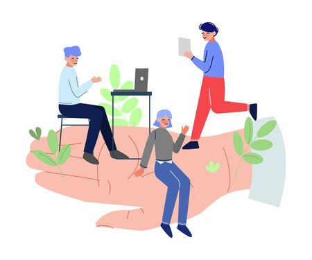 Giant Hands Holding Tiny Office Workers, Business Emloyees Protection, Professional Growth, Personnel Perks and Benefits Vector Illustration 向量圖像