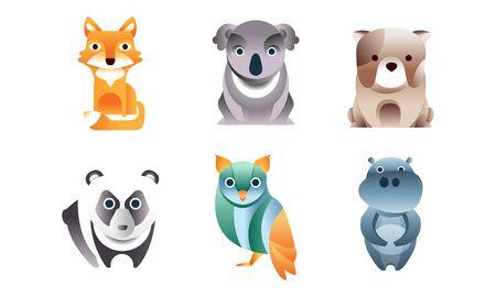 Cute Stylized Wild Animals Collection, Fox, Dog, Koala, Panda, Owl, Hippo Vector Illustration