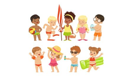 Cute Happy Boys and Girls Playing, Swimming and Having Fun at the Beach on Summer Vacation Vector Illustration