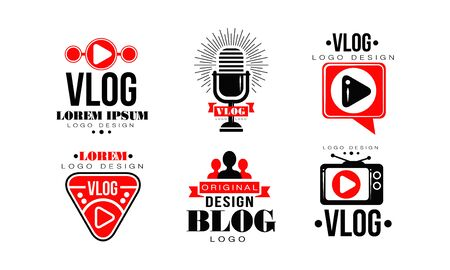 Vlog   Design Collection, Video Blog Channel Button Vector Illustration