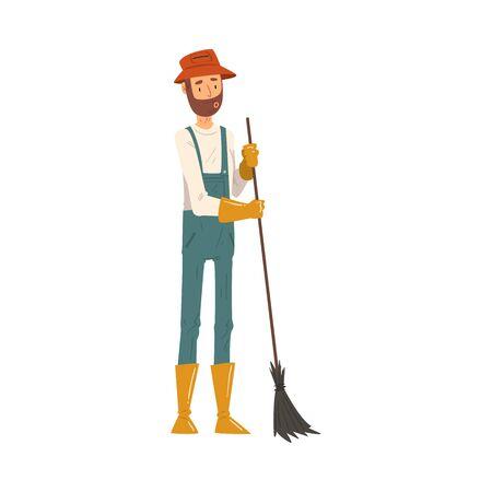 Man Gardener Sweeping with Broom, Cheerful Male Farmer Character in veralls Working at Garden or Farm Vector Illustration Ilustración de vector