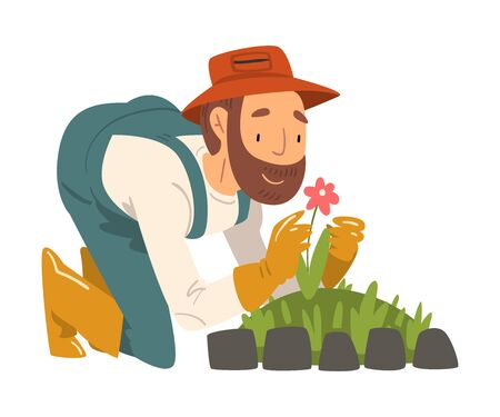 Man Gardener Planting and Admiring Flower, Cheerful Male Farmer Character in veralls Working at Garden or Farm Vector Illustration