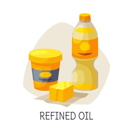 Unhealthy Food for Brain, Refined Oil, Butter and Vegetable Oil Vector Illustration