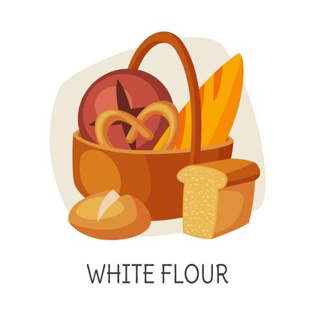 Unhealthy Food for Brain, White Flour, Refined Flour Bakery Vector Illustration on White Background. Illustration
