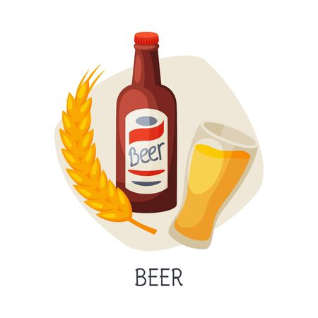 Unhealthy Food for Brain, Beer Low Alcohol Drink Vector Illustration on White Background.