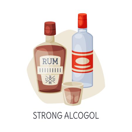 Unhealthy Food for Brain, Strong Alcohol Drinks Vector Illustration on White Background.  イラスト・ベクター素材