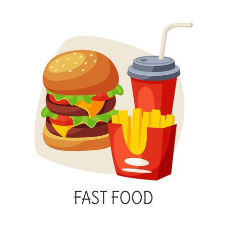 Unhealthy Food for Brain, Fast Food, Burger, French Fries, Soda Drink Vector Illustration on White Background.