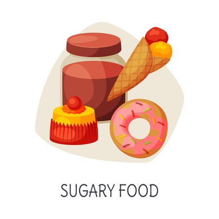 Unhealthy Food for Brain, Sugary Food, Donut, Ice Cream, Cupcake, Jam Jar Vector Illustration  イラスト・ベクター素材