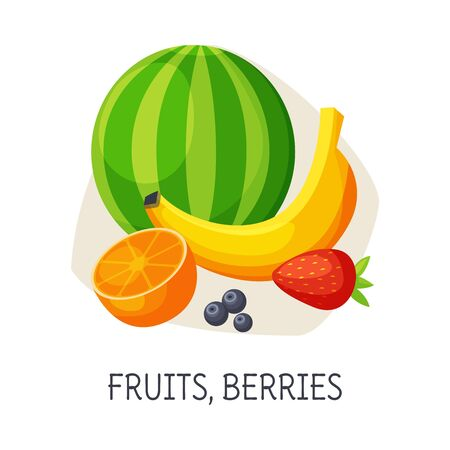 Healthy Food for Brain, Fruits and Berries, Fresh Strawberry, Orange, Watermelon, Blueberry, Banana Vector Illustration on White Background.
