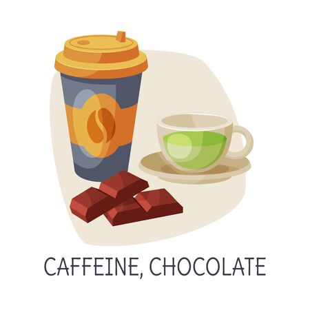 Healthy Food for Brain, Caffeine and Chocolate, Coffee and Tea Cups Vector Illustration on White Background.