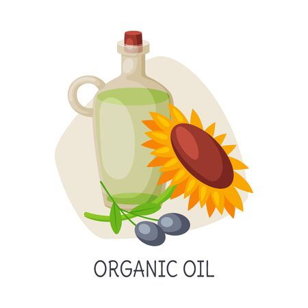 Healthy Food for Brain, Organic Oil, Vector Illustration on White Background.  イラスト・ベクター素材