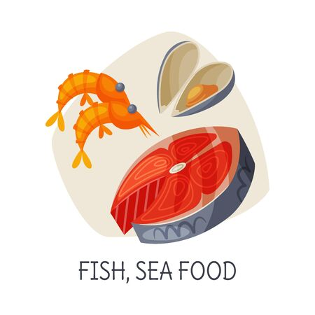 Healthy Food for Brain, Fish, Seafood, Active Lifestyle, Healthy Diet Elements Vector Illustration  イラスト・ベクター素材
