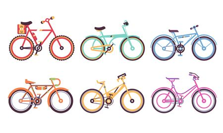 Bicycles Collection, Colorful Bikes with Different Frames, Ecology Transport Vector Illustration