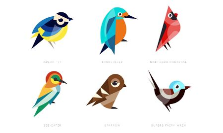 Colorful Stylized Birds Collection, Great Tit, Kingfisher, Northern Cardinal, Bee Eater, Sparrow, Superb Fairy Wren Vector Illustration Isolated on White Background.