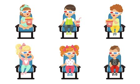 Cute Kids Watching Movie with 3D Glasses While Eating Popcorn and Drinking Soda Drink Vector Illustration Isolated on White Background.