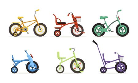 Kids Bicycles Collection, Childrens Colorful Bikes Vector Illustration on White Background