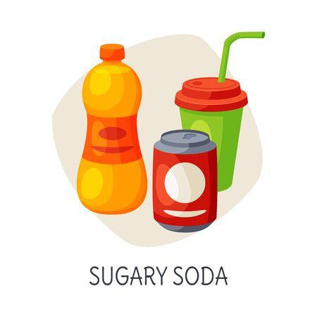Unhealthy Food for Brain, Sugary Soda Drinks Vector Illustration  イラスト・ベクター素材