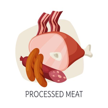 Unhealthy Food for Brain, Processed Meat Products, Sausages, Ham Vector Illustration on White Background.