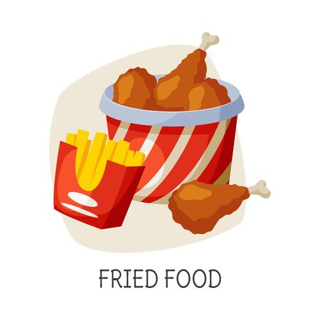 Unhealthy Food for Brain, Fried Food Dishes Vector Illustration on White Background.