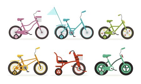 Kids Bicycles Collection, Childrens Bikes Vector Illustration Isolated on White Background.