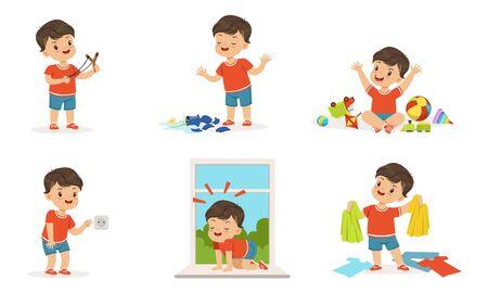 Cute Bully Boy Collection, Hoodlum Cheerful Little Kid, Bad Child Behavior Vector Illustration on White Background