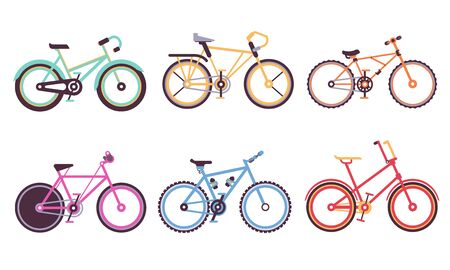 Various Bicycles Collection, Sportive and City Bikes with Different Frames, Ecology Transport Vector Illustration Isolated on White Background. Stock Illustratie