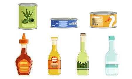 Canned Food Collection, Preserved Goods in Sealed Cans and Bottles Vector Illustration Isolated on White Background.