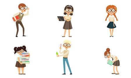 Funny Nerds and Geeks Cartoon Characters Collection, Smart School Children in Glasses with Books Vector Illustration Isolated on White Background.