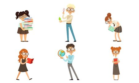 Funny Boys and Girls Nerds Collection, Smart School Children Cartoon Characters Vector Illustration Isolated on White Background. Ilustracja