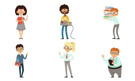 Funny Nerds and Geeks Cartoon Characters Collection, Smart Students in Glasses with Books Vector Illustration Isolated on White Background.