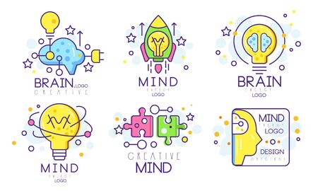 Mind Energy Original Design Templates Collection, Creative Brain Vector Illustration Isolated on White Background.