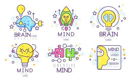 Mind Energy Original Design Templates Collection, kreative Gehirn-Vektor-Illustration isoliert auf weißem Hintergrund.
