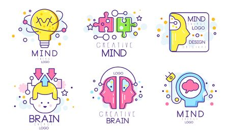 Creative Brain Original Logo Design Templates Collection, Mind Energy Colorful Badges Vector Illustration Isolated on White Background. Logos
