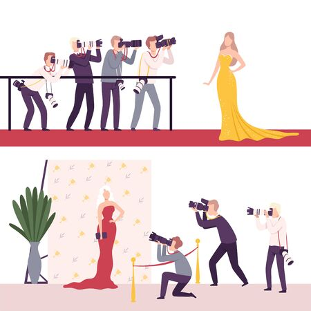 Celebrities Posing to Paparazzi Set, Photographers with Cameras Photographing at Movie Festival, Premiere, Ceremony Show, Party for Famous People Flat Vector Illustration on White Background.