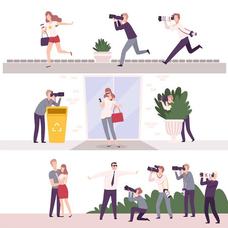 Collection of Paparazzi with Cameras Following Celebrities, Famous People Posing to Photographers at Movie Festival, Premiere, Ceremony Show Flat Vector Illustration on White Background.