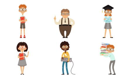 Funny Nerds and Geeks Cartoon Characters Collection, Smart Male and Female Students in Glasses with Books Vector Illustration Isolated on White Background.