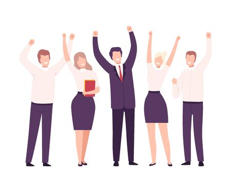 Business People Celebrating Victory, Business Team Achievement, Employees Characters Dressed in Suits Standing with Their Hands Up Flat Vector Illustration on White Background.