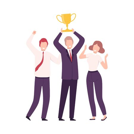 Business People Celebrating Victory with Trophy Cup, Managers Characters Dressed in Business Suits Standing with Their Hands Up Flat Vector Illustration on White Background. Stock Illustratie