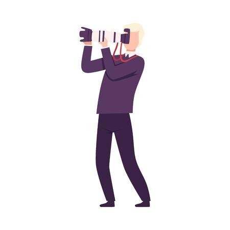 Photographer Taking Photo Using Digital Camera, Paparazzi or Operator Character Flat Vector Illustration