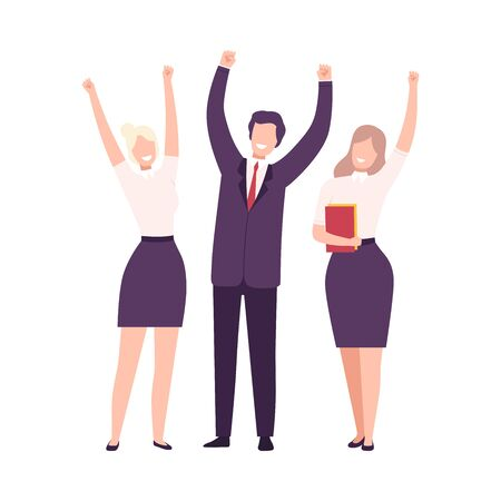 Business Team Celebrating Victory, Managers Characters Dressed in Business Suits Standing with Their Hands Up Flat Vector Illustration Stock Illustratie