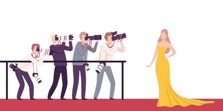 Celebrity Posing to Paparazzi, Photographers with Cameras Photographing at Movie Festival, Premiere, Ceremony Show, Party for Famous People Flat Vector Illustration Ilustracje wektorowe