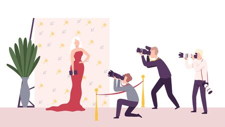 Elegant Beautiful Woman Posing to Paparazzi, Photographers with Cameras Photographing at Movie Festival, Premiere, Ceremony Show, Party for Famous People Flat Vector Illustration Illusztráció