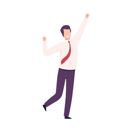 Businessman Celebrating Victory, Male Office Character Dressed in Business Clothes Standing with His Hands Up Flat Vector Illustration